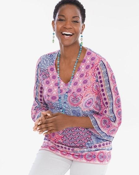 Tile Kimono-Sleeve Top