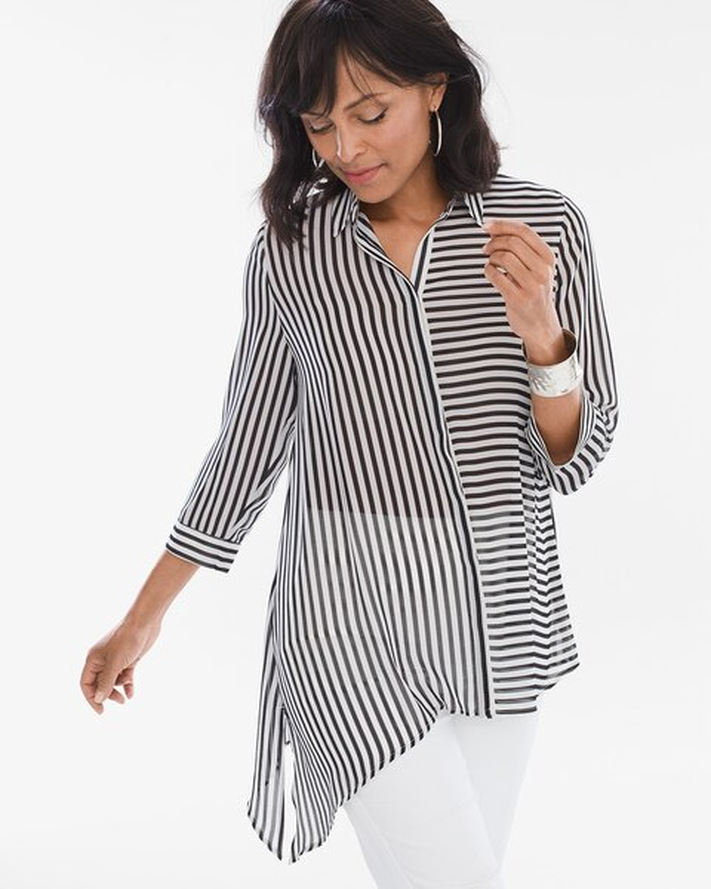 368031f68e55 Striped Asymmetrical Hem Shirt - Chico's