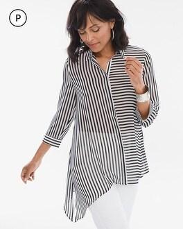 Chico's Petite Striped Asymmetrical Hem Shirt | Tuggl