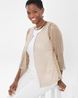 Chico's Gold Square Lace Jacket | Tuggl