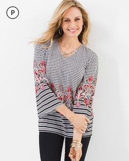 Chico's Petite Mixed-Print Criss-Cross V-Neck Top at Chico's in Brooklyn, NY | Tuggl
