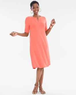 Chico's Solid Keyhole Dress | Tuggl