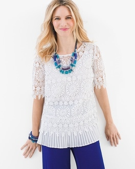 Chico's Pleated Lace Top at Chico's in Brooklyn, NY | Tuggl