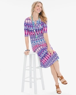 Chico's Pastel Ikat Keyhole Dress | Tuggl