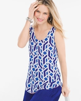 Chico's Four-Way Reversible Medallion-Geometric Tiles Tank at Chico's in Brooklyn, NY | Tuggl