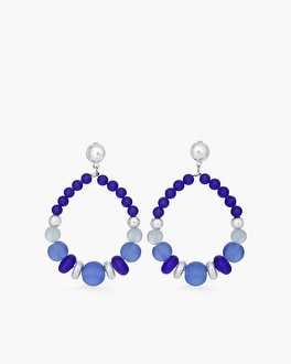 Chico's Blue Beaded Drop-Hoop Earrings at Chico's in Brooklyn, NY | Tuggl