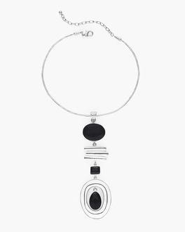 Chico's Black and White Collar Pendant Necklace   Tuggl