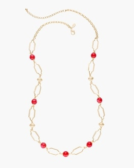 Chico's Rose and Gold-Tone Single-Strand Necklace | Tuggl