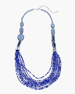 Chico's Blue Beaded Multi-Strand Necklace | Tuggl