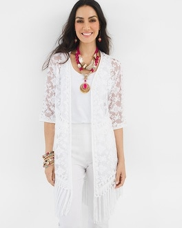Chico's Embroidered Fringe Cardigan | Tuggl