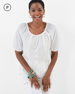 Chico's Petite Embellished Peasant Top | Tuggl
