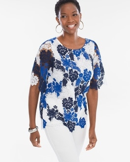 Chico's Floral Lace Scalloped Hem Top at Chico's in Brooklyn, NY | Tuggl