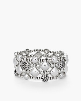 Chico's Silver-Tone Stretch Bracelet at Chico's in Brooklyn, NY | Tuggl