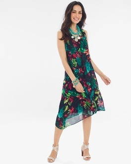 Chico's Floral Asymmetrical-Hem Dress | Tuggl
