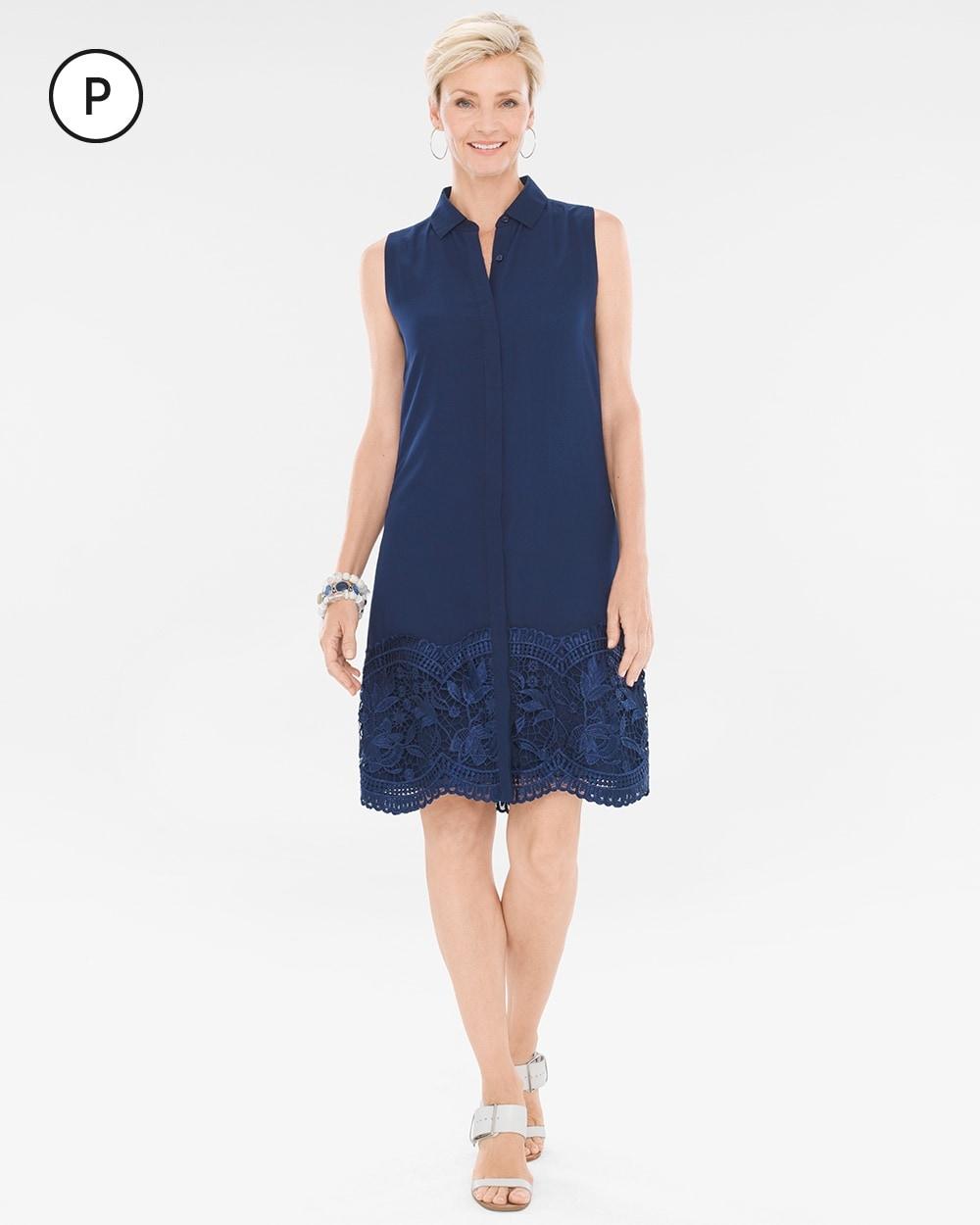 Petite Embroidered Lace-Hem Dress