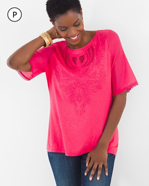 9f02659d5 Petite Embroidered Flutter Top - Chico s