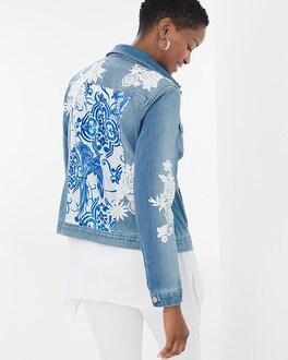 Chico's Lace-Detail Denim Jacket | Tuggl