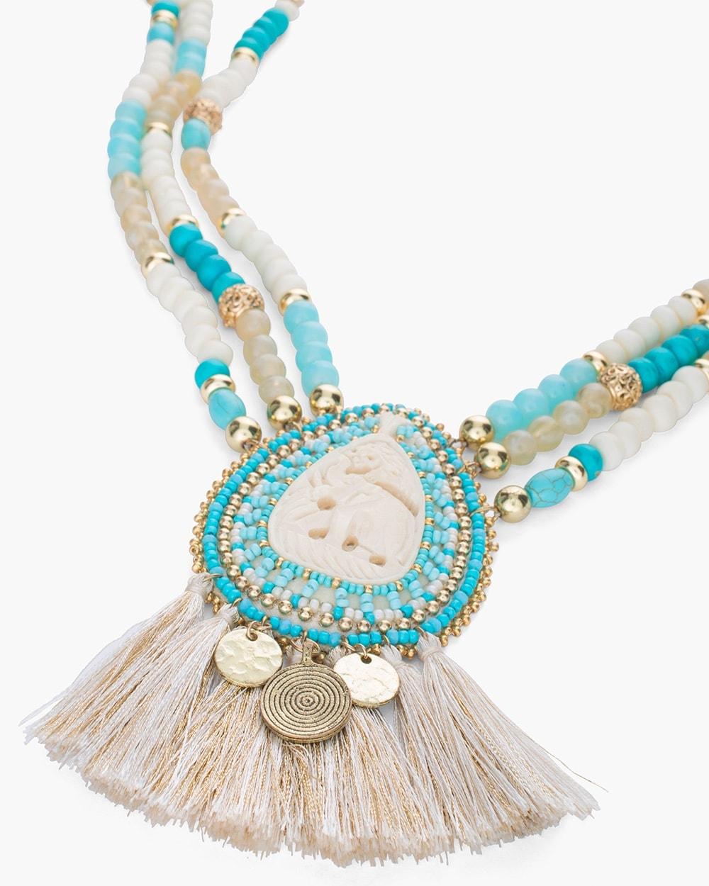 Neutral Elephant beaded Necklace