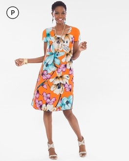 Chico's Petite Reversible Floral-Animal Dress | Tuggl