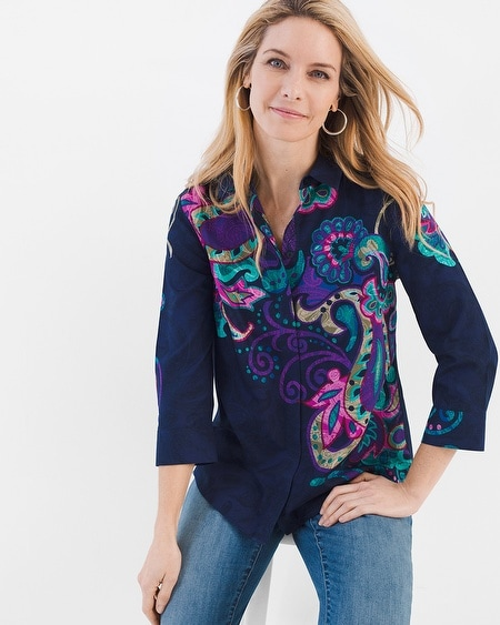 No-Iron Paisley Button-Back Shirt