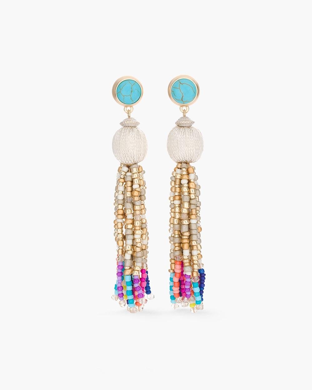 Multi Colored Seed Bead Chandelier Earrings