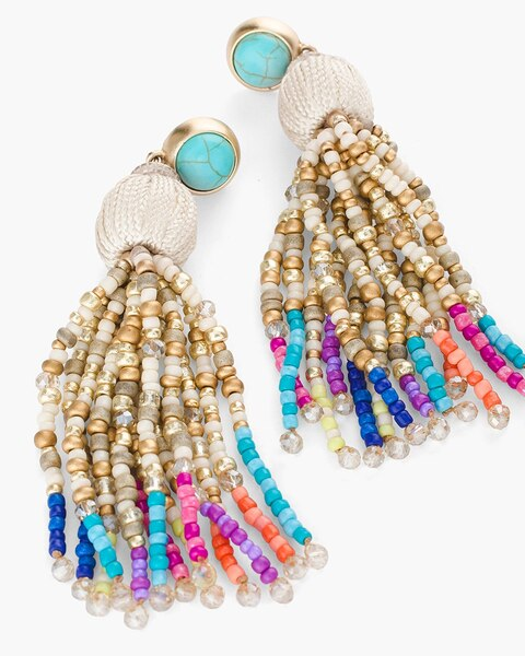 Return To Thumbnail Image Selection Multi Colored Seed Bead Chandelier Earrings