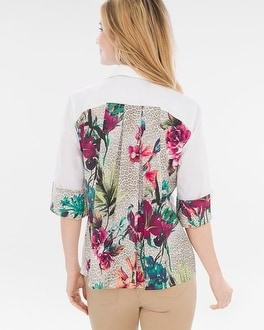Chico's Tropical Pleat-Back Shirt | Tuggl