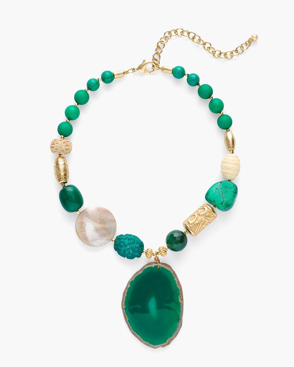 Short green stone pendant necklace chicos short green stone pendant necklace aloadofball Choice Image