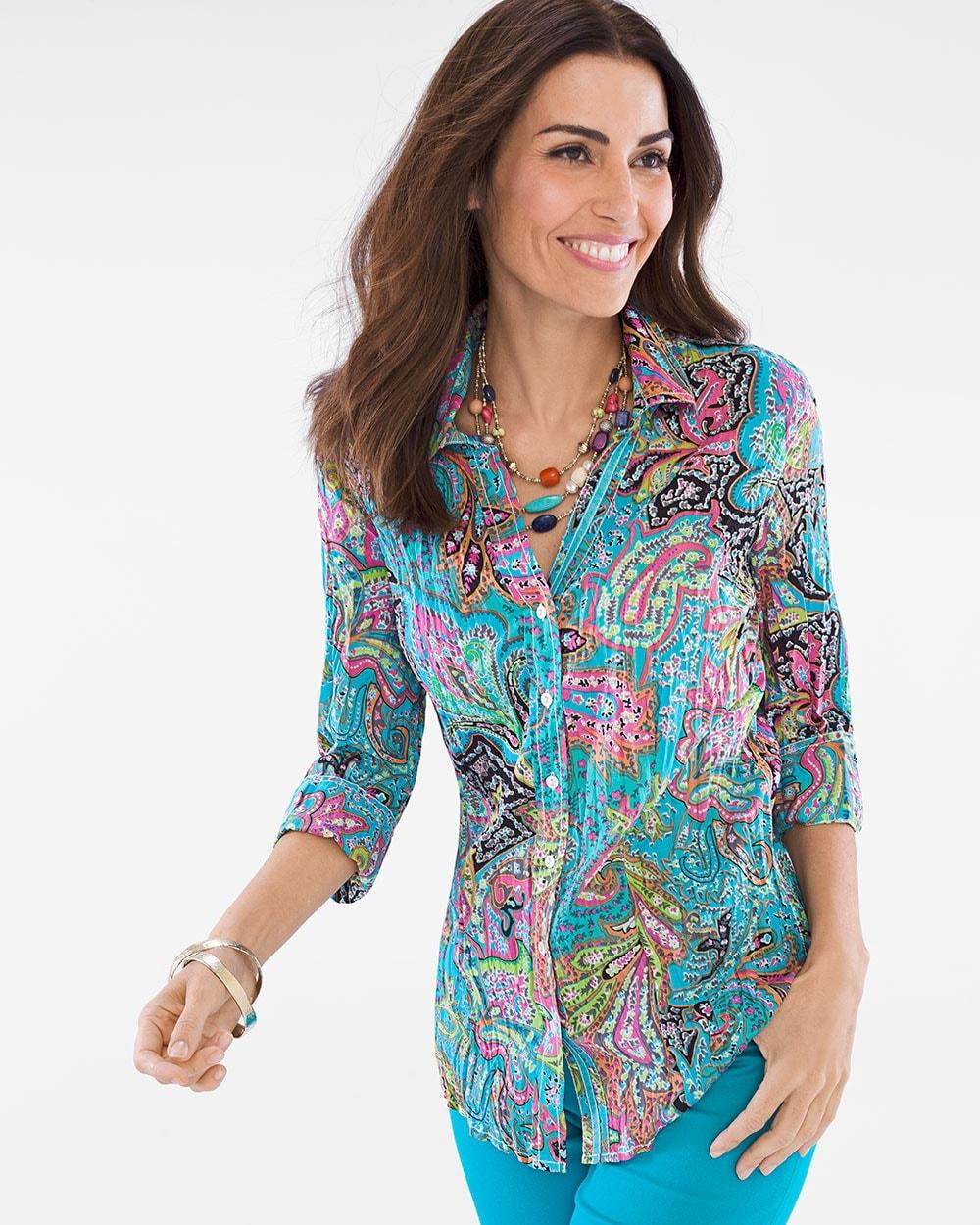 4da7a2923bb Multi-Colored Paisley Crinkle Shirt