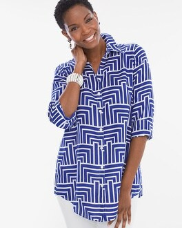 Chico's Linen Enamel Maze Loop-Back Tunic at Chico's in Brooklyn, NY | Tuggl