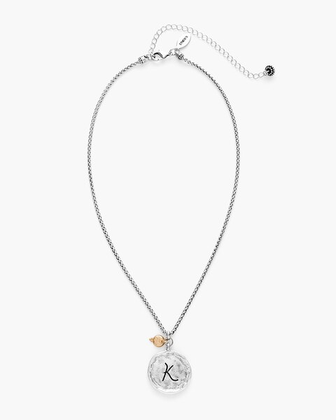 7a267f86811f2 Reversible Mixed-Metal Initial Necklace- Letter K - Chico's