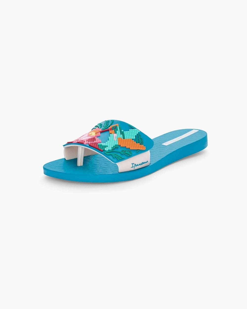 00b1724a422388 570237637. Video. Zoom. Ipanema Blue Floral Beach Sandals