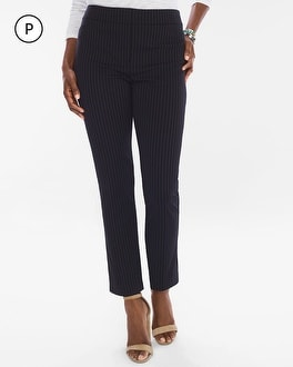 Chico's Petite Ponte Pinstriped Tapered Ankle Pants | Tuggl