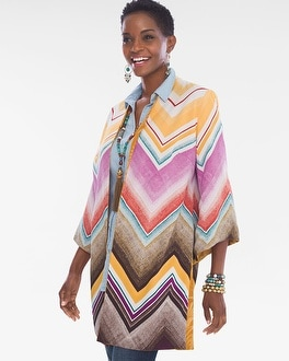 Chico's Reversible Chevron-Jacquard Kimono at Chico's in Brooklyn, NY | Tuggl
