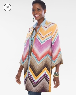 Chico's Petite Reversible Chevron-Jacquard Kimono at Chico's in Auburn, GA | Tuggl