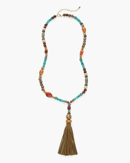 Chico's Warm Beaded Tassel Necklace | Tuggl