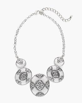 Chico's Silver-Tone Artisan Bib Necklace | Tuggl