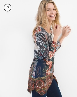 Chico's Petite Floral Paisley Tunic | Tuggl