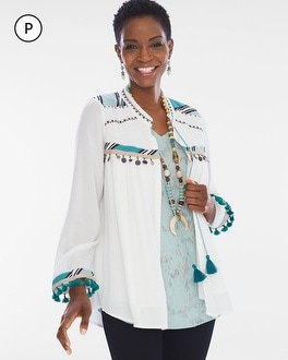 Chico's Petite Tassel Tie Jacket at Chico's in Auburn, GA | Tuggl