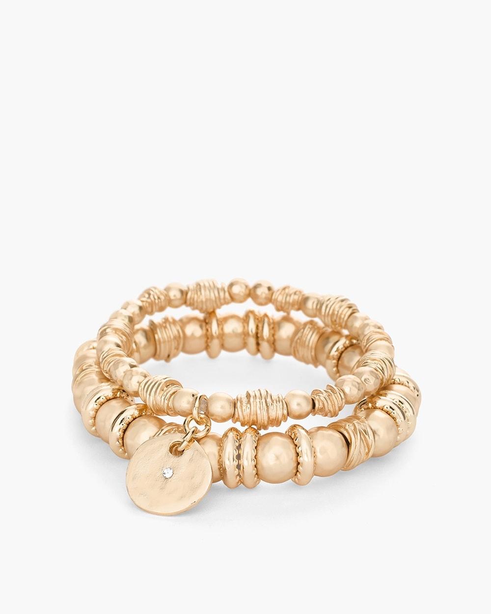 Gold Tone Textured Stretch Bracelet Set