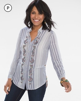 Chico's Petite Striped Medallion Tunic | Tuggl