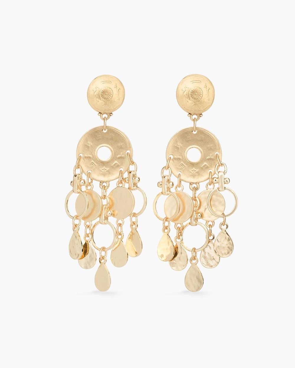 Gold Tone Coin Chandelier Earrings