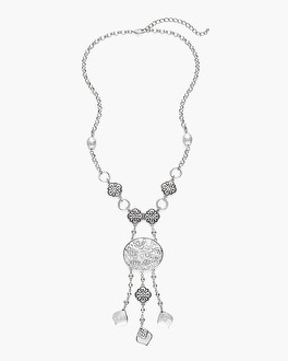 Chico's Long Silver-Tone Artisan Charm Necklace | Tuggl