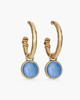Chico's Reversible Blue and Gold-Tone Hoop Earrings at Chico's in Brooklyn, NY | Tuggl