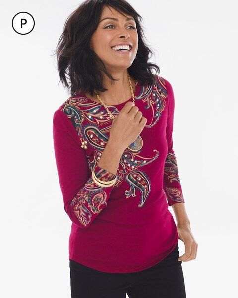d4a5f274a2 Return to thumbnail image selection Petite Long-Sleeve Paisley Sequin Top  video preview image