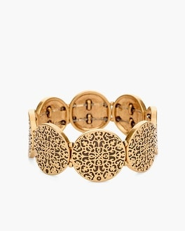 Chico's Textured Gold-Tone Stretch Bracelet | Tuggl