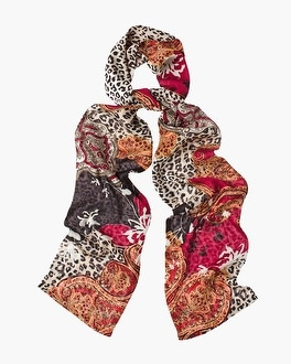 Chico's Heritage Reversible Leopard-Mixed Print Scarf | Tuggl