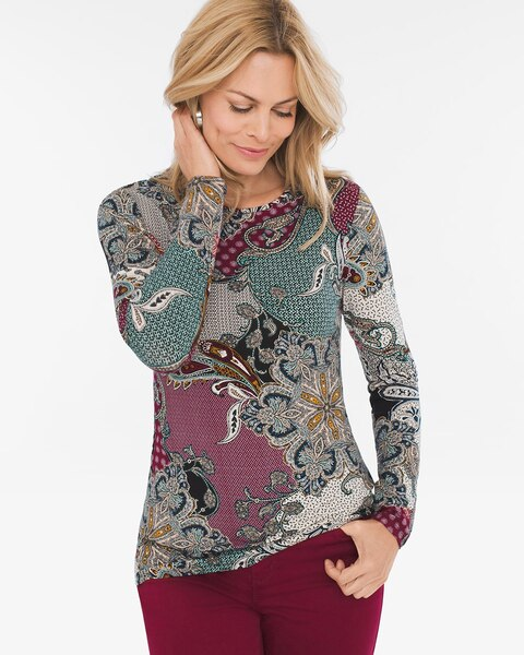 bba981574 Paisley Crew-Neck Knit Top - Chico's