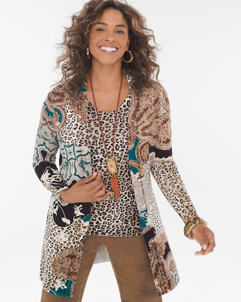 bfc41faef Mixed Leopard-Print Cardigan - Chico s