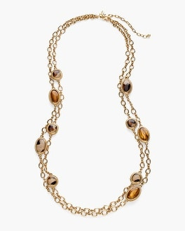 Chico's Reversible Leopard-Print Double-Strand Necklace | Tuggl